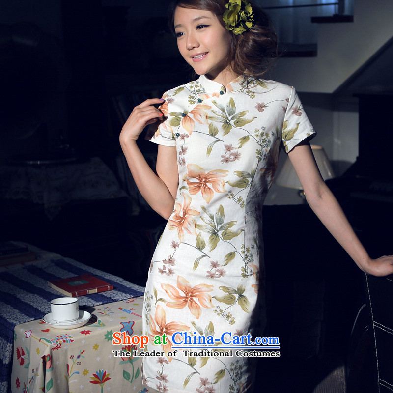 Light of improved Stylish retro summer cotton linen dresses ethnic women cheongsam new fall short of linen dresses recalled that L