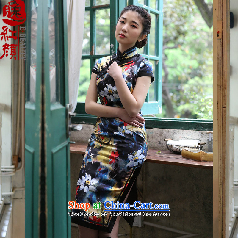 A Pinwheel Without Wind of Revlon Yat stretch of Silk Cheongsam retro summer new cheongsam dress improved Yellow聽M