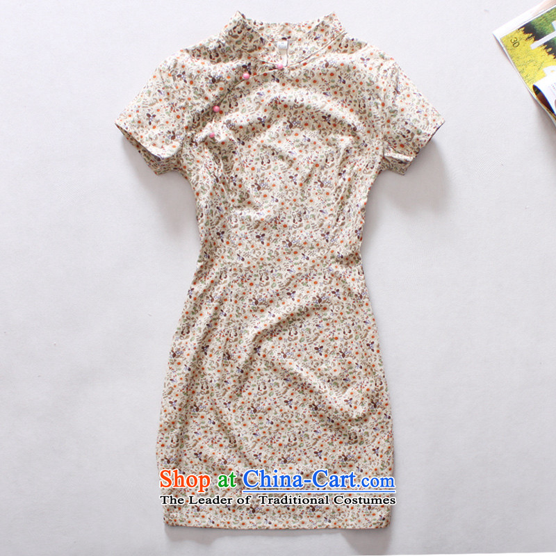 Light Of 2014 new cotton qipao national retro improved women cheongsam Chinese clothing qipao Sau San yellow flower燲XXL