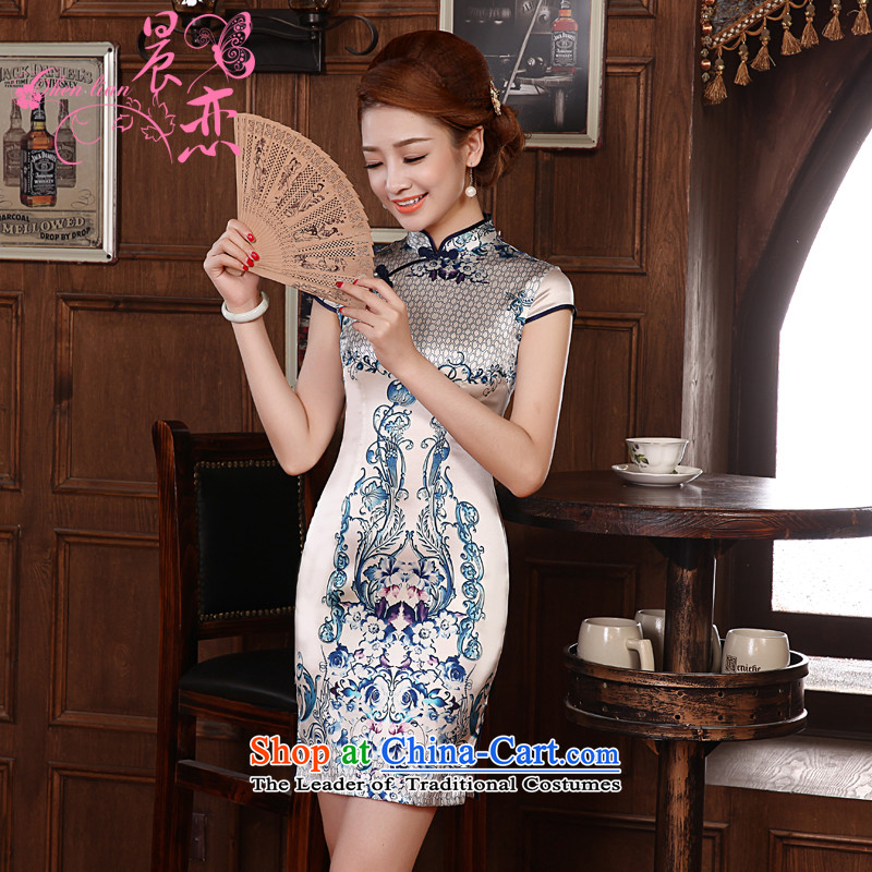 Morning new qipao land 2014 Summer retro improved stylish herbs extract Silk Cheongsam Dress Short of porcelain blue�XL