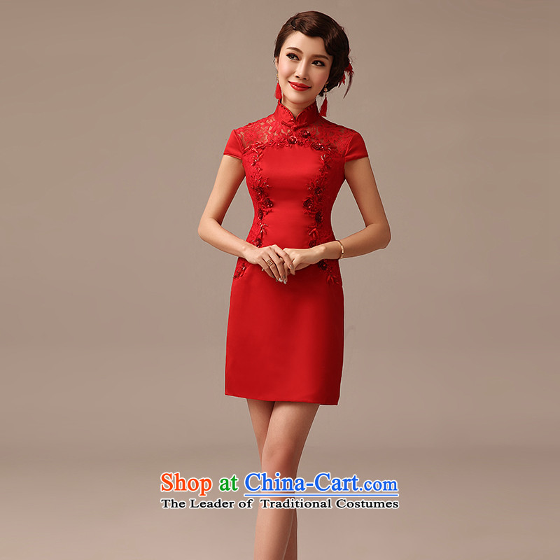 2015 Spring_Summer new bride short of qipao bows red stylish improved Sau San engraving diamond cheongsam red燣