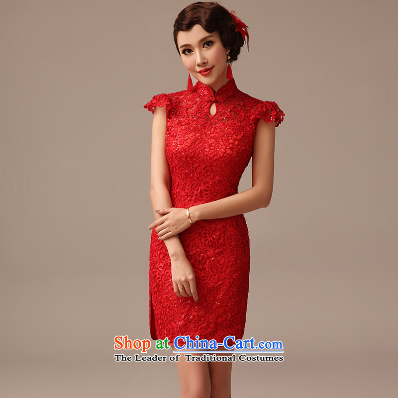 2015 new marriages short of qipao bows services on-chip lace marriage qipao summer red聽L