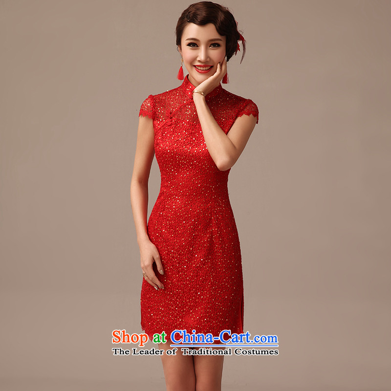 2015 new marriages QIPAO_ Red bride wedding short qipao bows services for summer RED燤