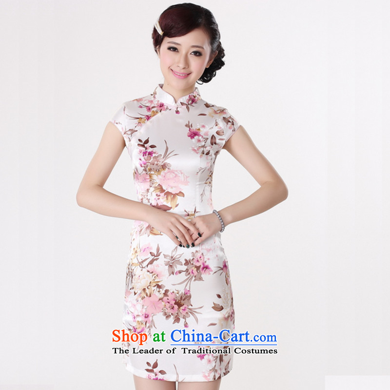 The 2014 summer flowers figure for women of the new Chinese qipao improved collar hand-painted silk gown need Tang dynasty retro short qipao White?XL