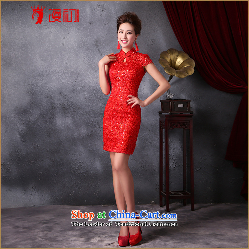 In the early 2015 new man stylish improved service of qipao bows collar lace on-chip video thin cheongsam dress Sau San RED燤