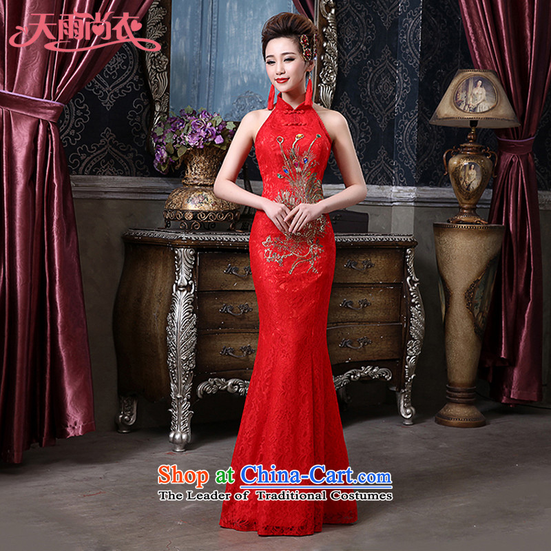 Rain Coat and stylish yet bride perfect body wedding dresses of the new Marriage bows and sexy lace hangs also red qipao QP559 RED燣