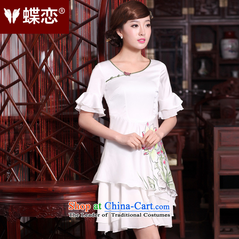 Butterfly Lovers 2015 Summer new improved cheongsam dress nation old hand-painted Lotus Sau San chiffon dresses 30678 Female White?XXL