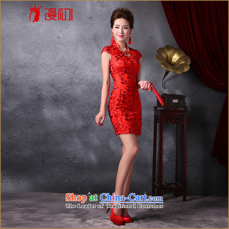 In the early period of slow improvement bride qipao stylish new Korean 2015 Sau San video thin lace short skirt bows services QIPAO_ RED燤