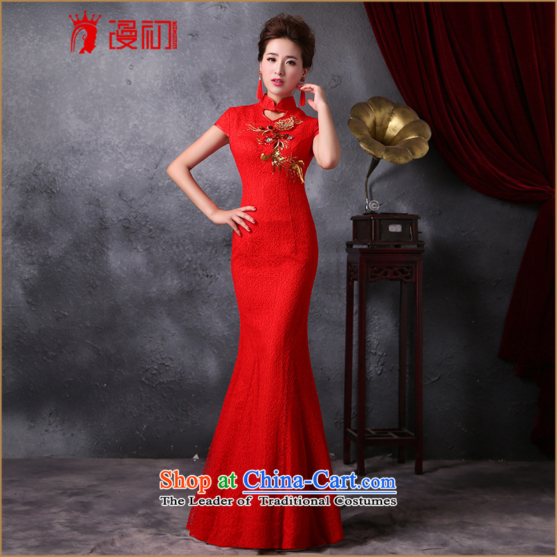In the early spring of 2015 and stylish diffuse new Sau San��Qipao Length, improved crowsfoot cheongsam look retro wedding dress red?XL