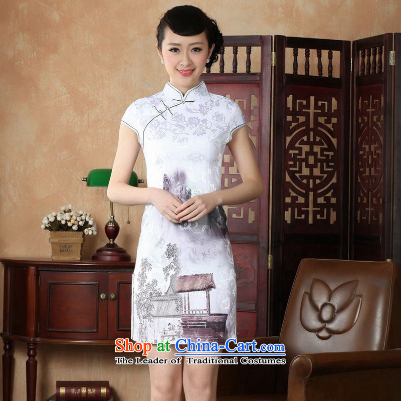 Figure for summer flowers new women's Chinese improved collar is pressed to cotton hand-painted Tang dynasty retro short white qipao�L