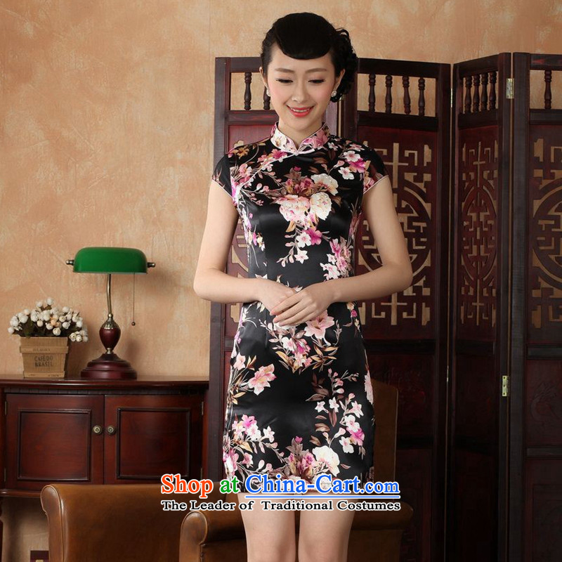 The 2014 summer flowers figure New President Tang Dynasty Chinese enhancement of qipao collar is pressed to hand-painted silk cheongsam J5139 retro short black J5134-a M