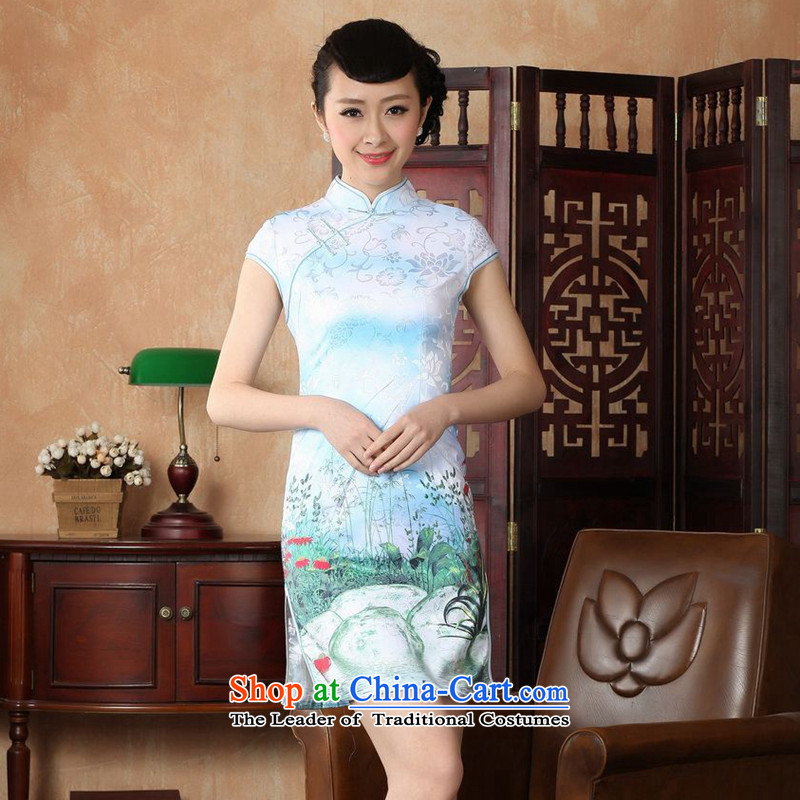 Take the new summer figure female cheongsam collar Chinese improved hand-painted a lapel COTTON SHORT views of the Tang dynasty white D0222-a qipao M