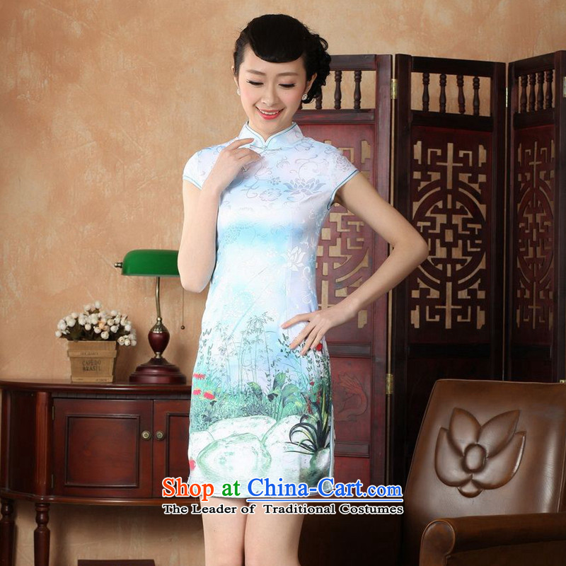 Take the new summer figure female cheongsam collar Chinese improved hand-painted a lapel COTTON SHORT views of Qipao Tang dynasty white floral M , , , D0222-a shopping on the Internet
