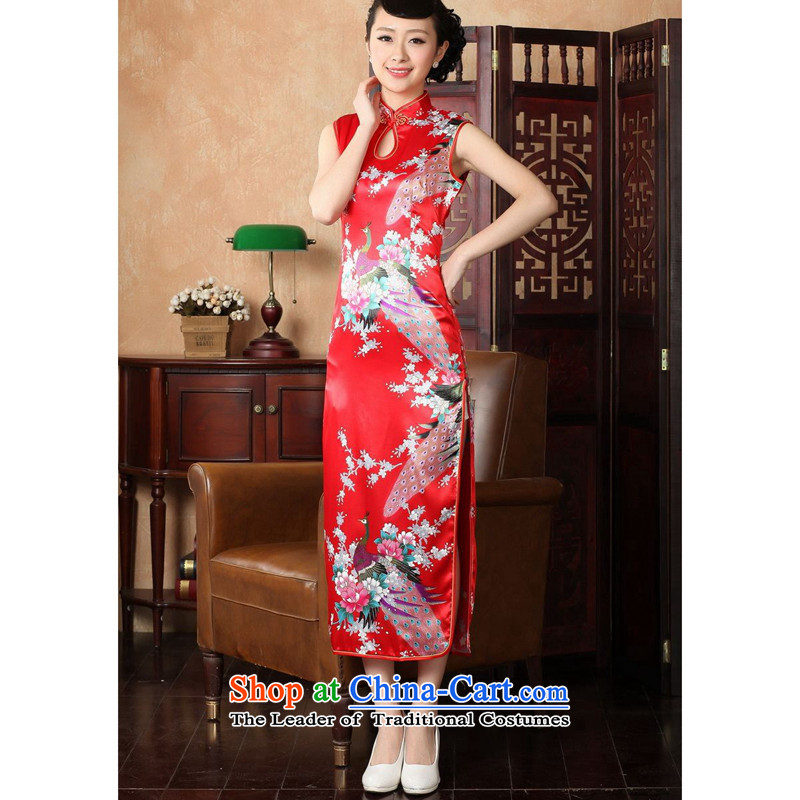 The 2014 summer flowers figure for women of the new Chinese qipao improved collar hand-painted silk mercers Tang dynasty retro peacock long qipao J5116 146 S