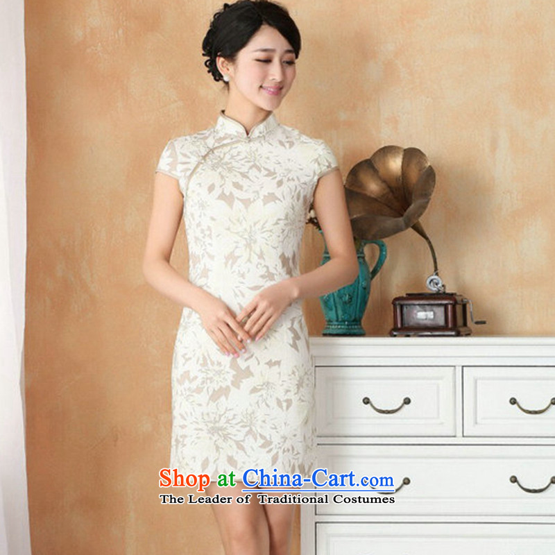 Figure for summer flowers of Chinese New improved collar is traversed by the Tang dynasty qipao hand-painted retro mini cheongsam with 4 White XL