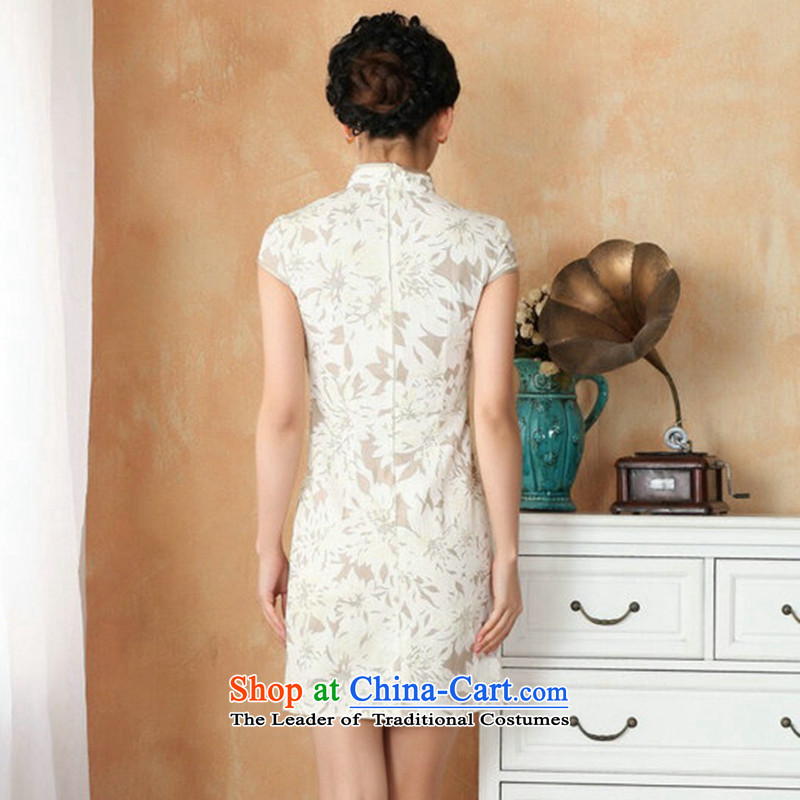 Figure for summer flowers of Chinese New improved collar is traversed by the Tang dynasty qipao hand-painted retro mini cheongsam with 4 White XL, floral shopping on the Internet has been pressed.