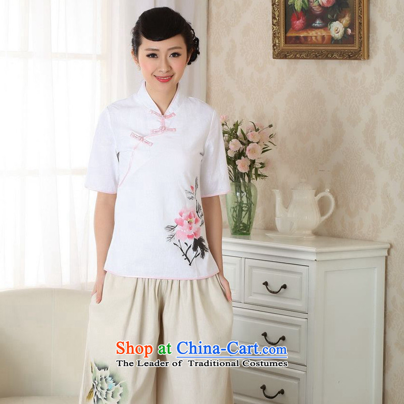 Figure for summer flowers New hand-painted Tang blouses cotton linen Chinese ethnic blouses燗0056 improved version of Tang Dynasty S