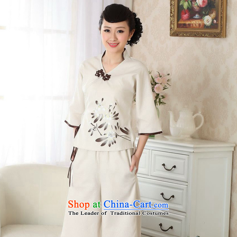 Take the new figure qipao shirt cotton linen flax Chinese ethnic blouses Tang tray clip�A0054 improved version 2XL