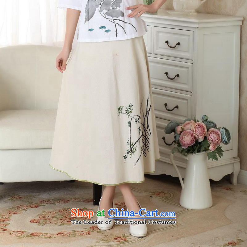 The new summer flowers figure female new Tang dynasty wild ethnic cotton linen hand-painted body A female skirts skirt?P0011 XL
