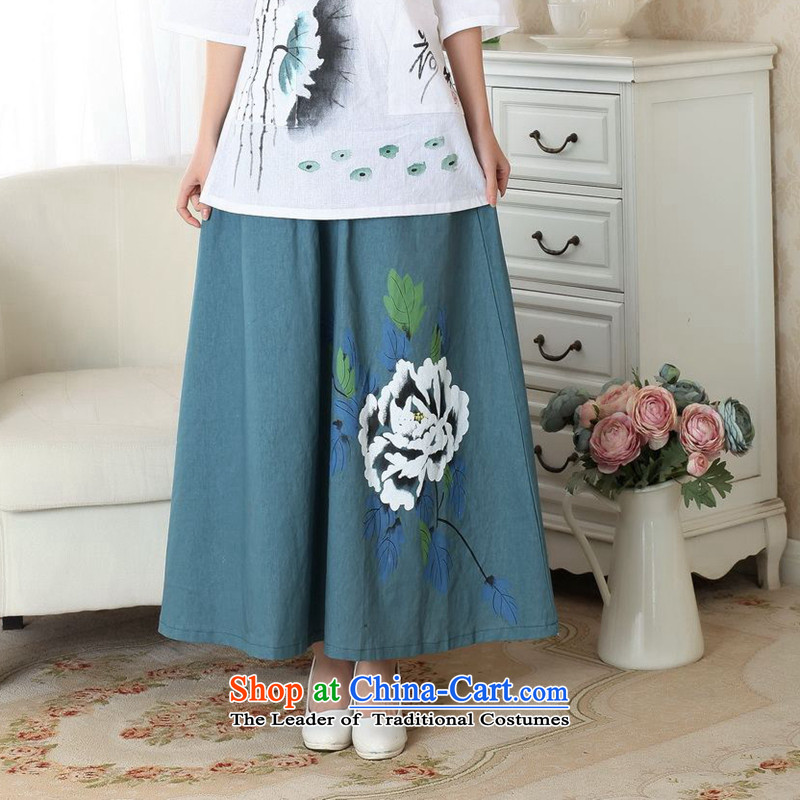 It new summer 2014 hand-painted qipao China wind retro-bag elastic waist large long skirt hand-painted body P0010 P M skirt