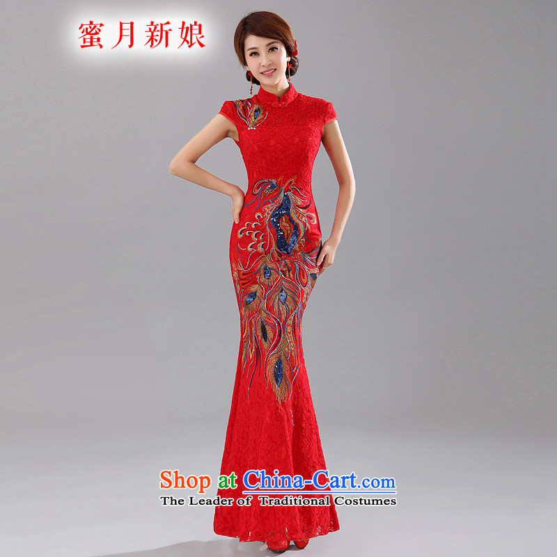 Honeymoon bride Summer 2015 new stylish red bride bows qipao Phoenix embroidery lace Sau San qipao elegance RED燤