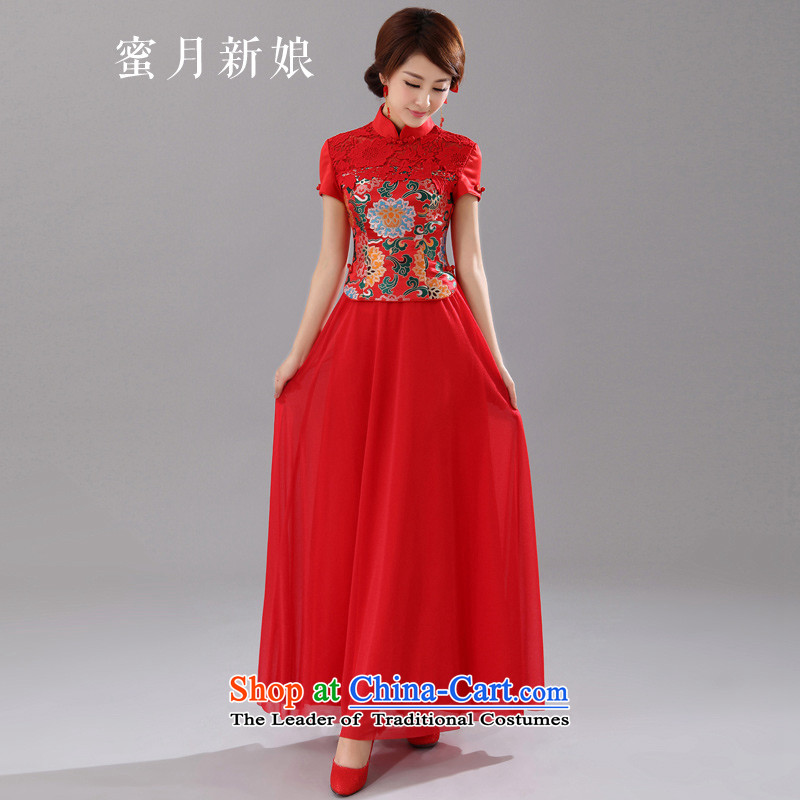 Honeymoon bride 2015 new red bride bows cheongsam embroidery peony chiffon qipao stylish stitching qipao red S