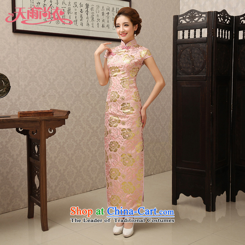 Rain was serving traditional Chinese clothing bows mother long marriage, short-sleeved Sau San silk dress pink bridal dresses QP493 spring and summer pink Suzhou shipment?XL