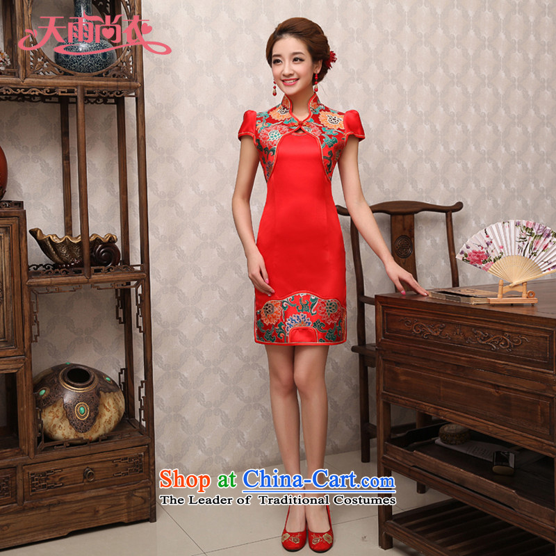 Rain-sang Yi New 2015 Summer qipao bride improved stylish red short-sleeved Sau San video thin Chinese wedding dress uniform QP494 bows RED?M