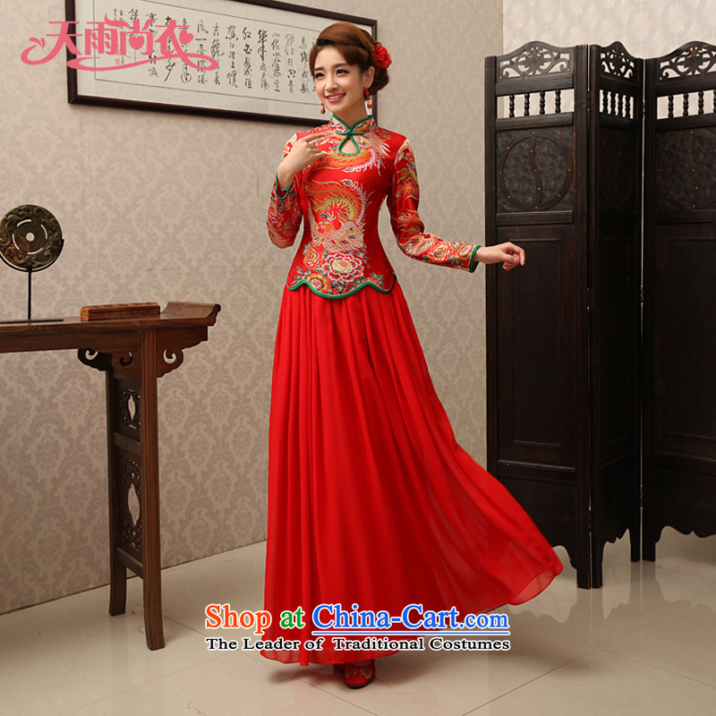 Rain-sang yi bride wedding wedding dress bows service improvement by the Red Sleeve LENGTH OF CHINESE CHEONGSAM QP489 RED?S