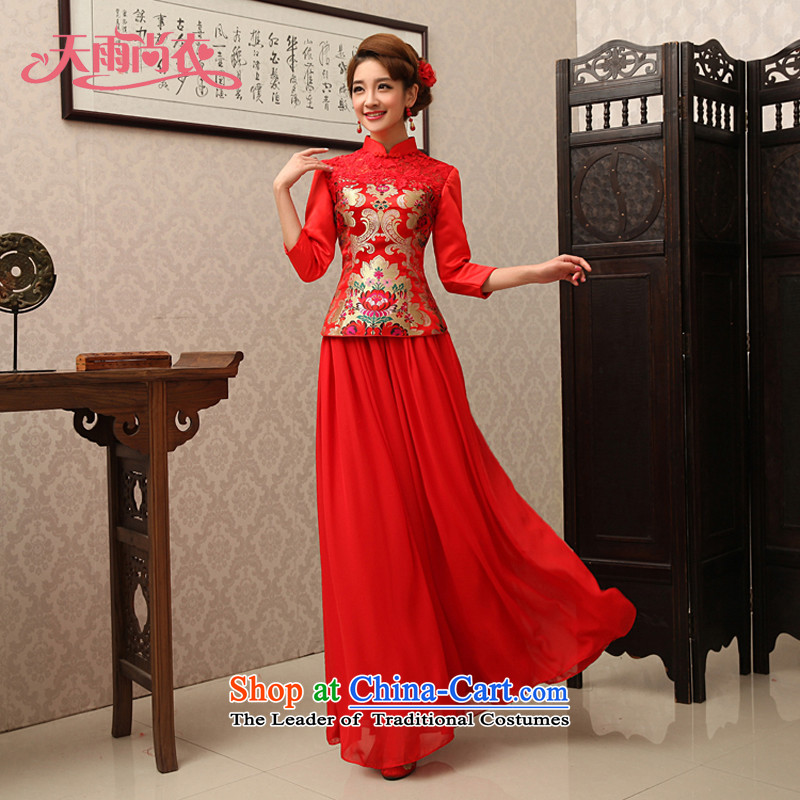 Rain-sang yi�15 new bride qipao red Chinese marriage toasting champagne stylish improved services in the Dragon dress use cuff kit QP488 RED燤