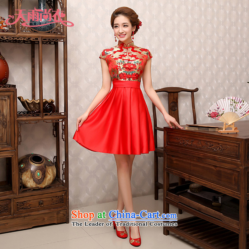 Rain-sang yi wedding dresses 2015 Summer new marriages Chinese style wedding services hotel back drink red door QP498 colorful patterned qipao燣