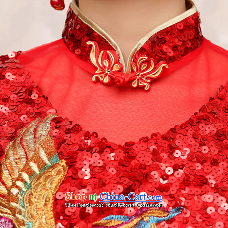 Rain-sang yi 2015 new bride wedding dresses red atmospheric improved marriage bows spring and summer services with short-sleeved Sau San short of Qipao QP484 RED聽, L, rain is yi , , , shopping on the Internet
