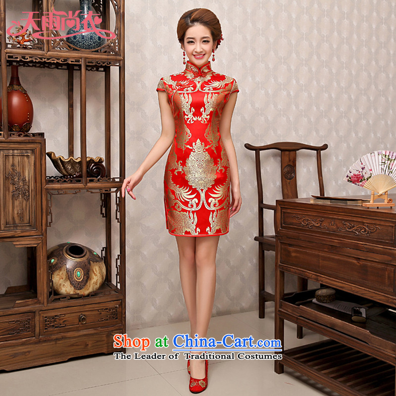 Rain-sang yi bride wedding dresses Wedding Dress Short, improved chinese red bows qipao QP483 services red燬