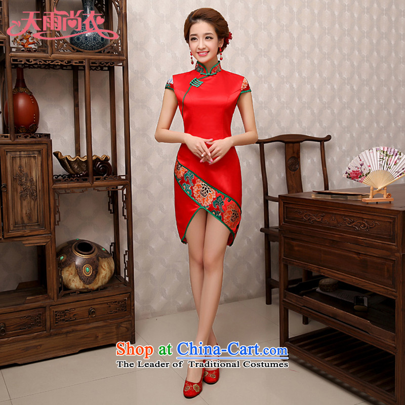 Rain-sang yi bride wedding wedding dress red bride qipao improved stylish short qipao front stub long after the marriage qipao QP482 services red bows燲L