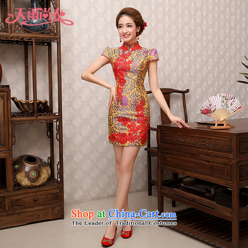 Rain-sang yi 2015 new wedding dresses summer qipao marriage cashmere mother load improved services QP480 bride Sau San bows picture color?L