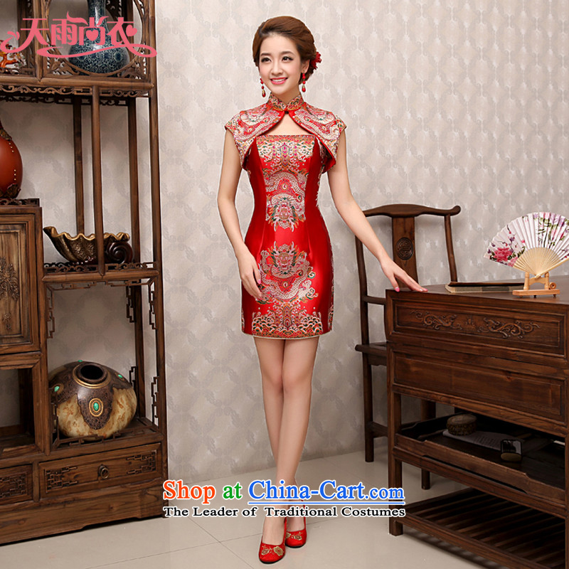 Rain-sang yi 2015 Summer bows services wedding dresses marriage improvement bride red sexy package and packaged QP479 qipao red?S