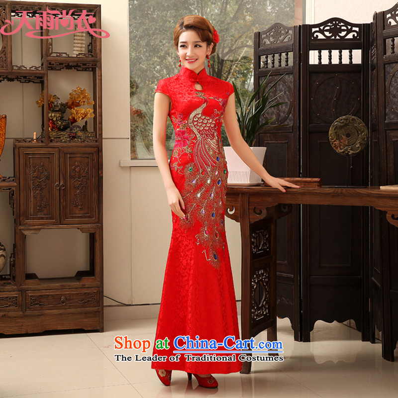 Rain in spring 2015 and stylish yet Yi Phoenix cheongsam long red bride replacing marriage wedding dresses skirt summer elegant bows services QP477 RED?XL