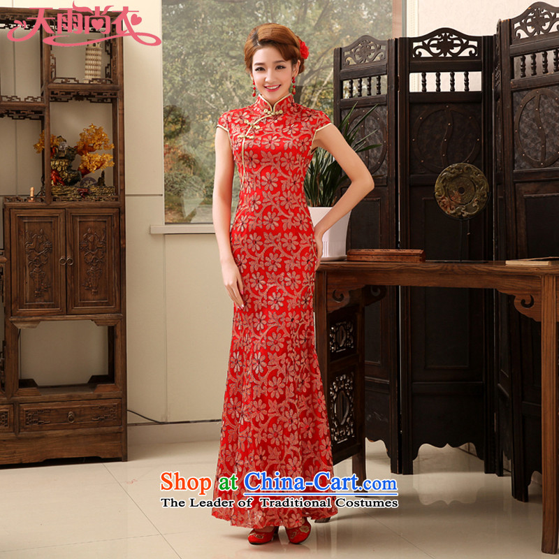 Rain-sang Yi New marriages bows stylish wedding dresses elegant long crowsfoot Sau San lace cheongsam evening QP476 RED燣