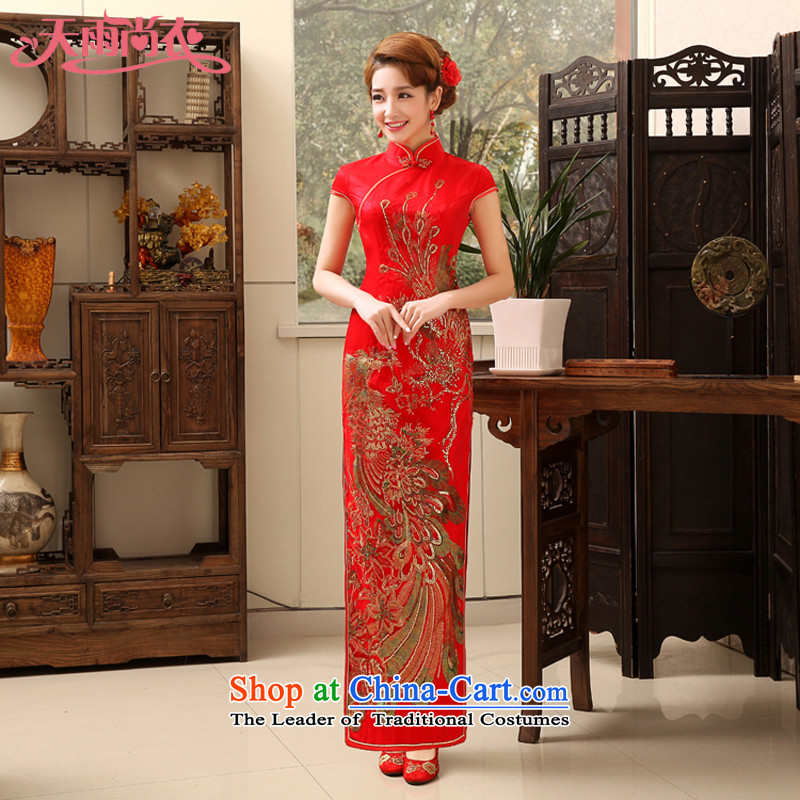 Rain Coat traditional bride skirts are red long thin improved retro video   Services   stylish married bows qipao QP475 RED燣