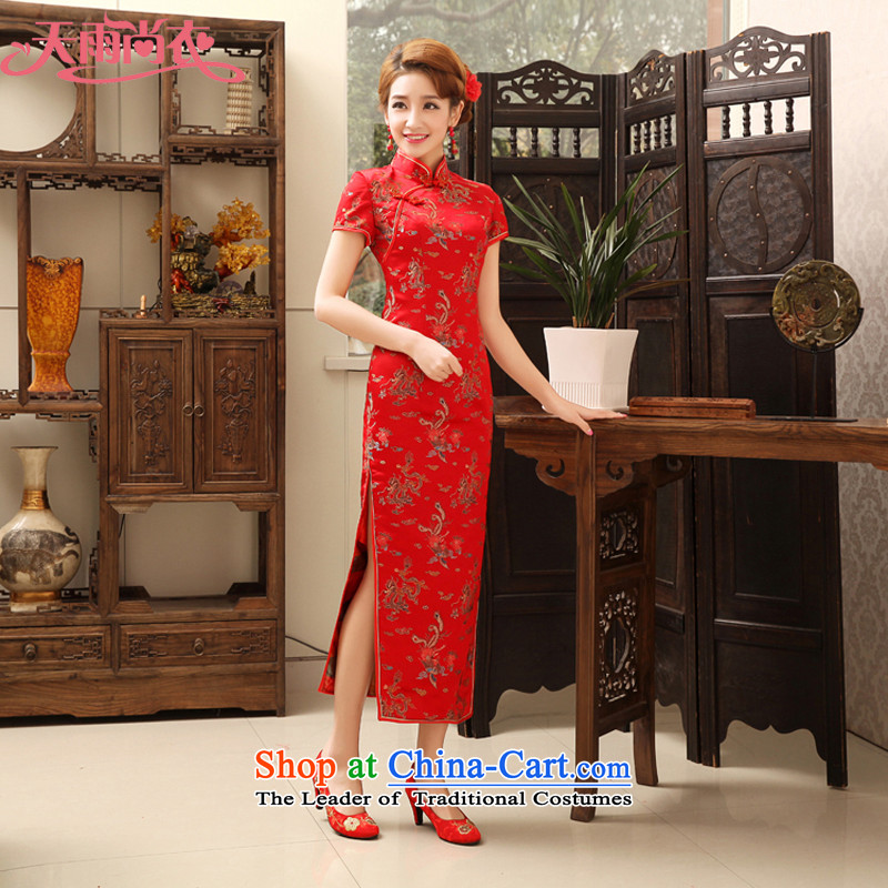 Rain-sang Yi marriages long cheongsam high on the forklift truck Sau San dress classical embroidery will serve for hotel courtesy service etiquette bows qipao QP474 services dark red?L