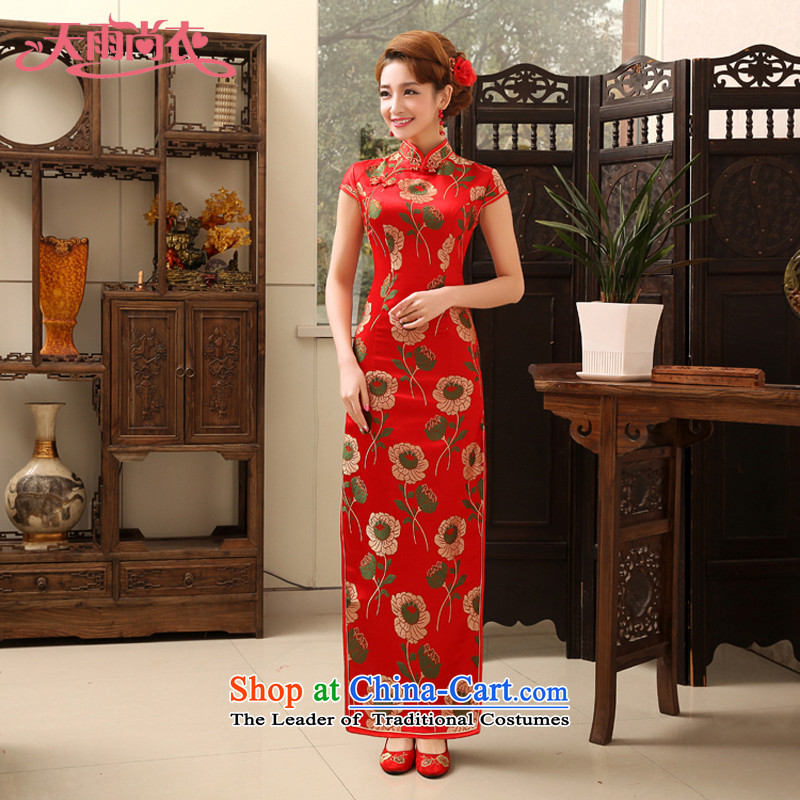Rain Coat bride wedding yet married long red qipao qipao retro improved service bridal cheongsam dress bows QP472 RED燲L