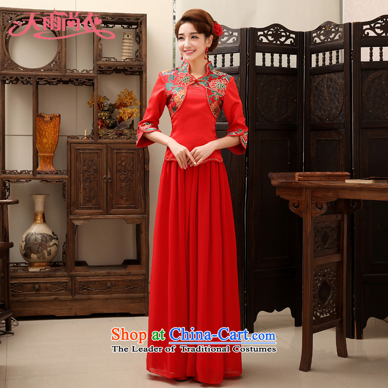 Rain in spring 2015, the bride still yi wedding dress stylish and elegant short-sleeved red bows serving a seven-sleeved cheongsam dress kit QP469 Red 7 Cuff?L