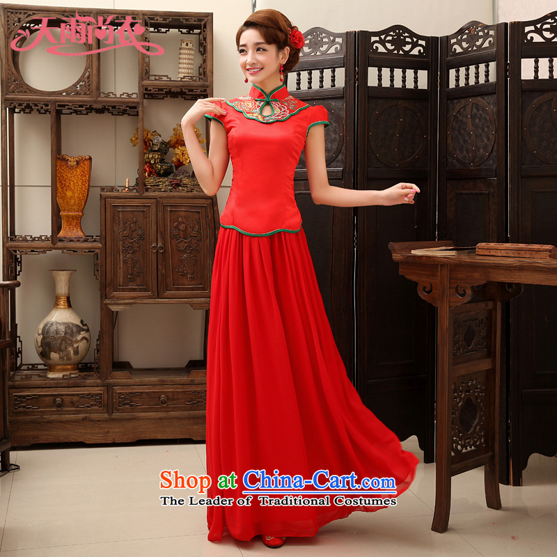 Rain-sang yi bride wedding Wedding Dress Short-sleeved red long serving modern improved qipao bows QP468 RED?L