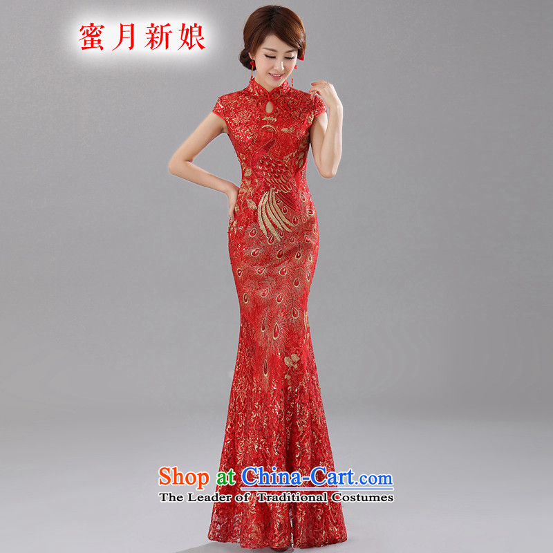 Honeymoon bride 2015 new bride red phoenix cheongsam bows embroidery lace Sau San qipao red?L