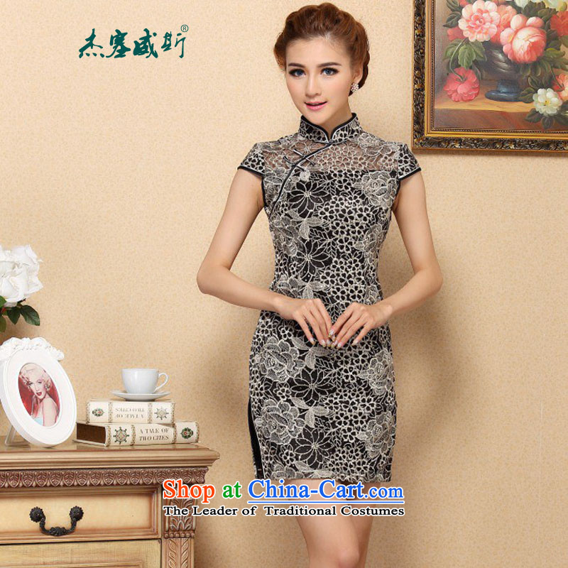 In the new kit, summer improved stylish lace cheongsam dress high end amenities lace cheongsam dress?979#?figure?XL