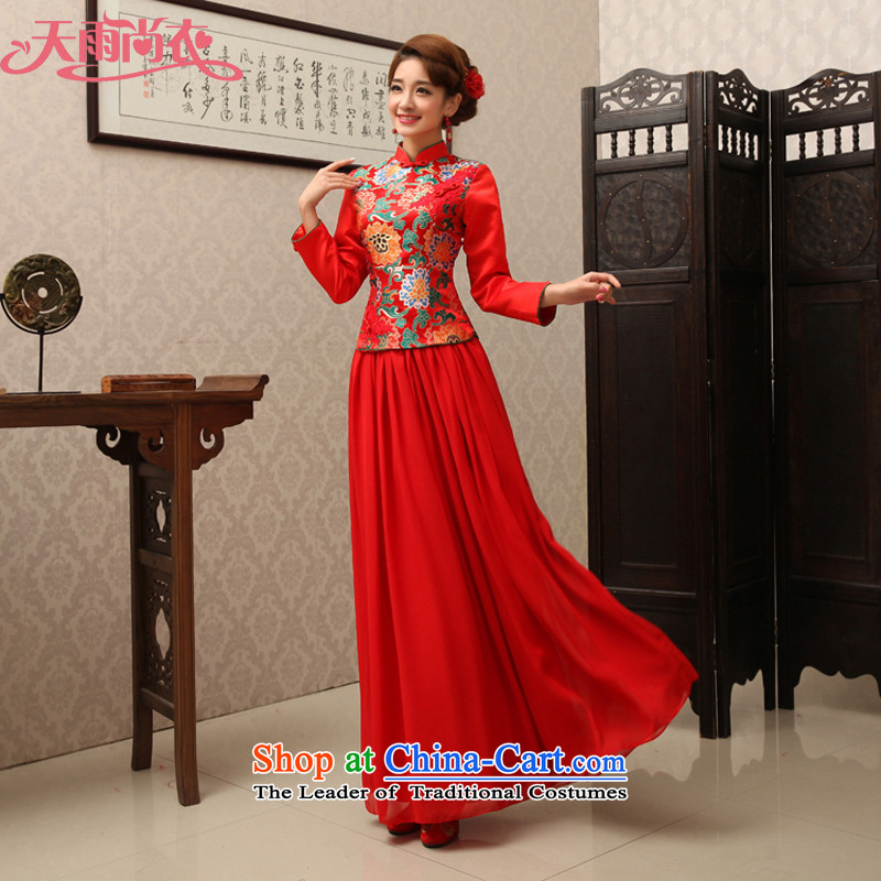 Rain-sang yi wedding dress bows to the chiffon chinese red color long-sleeved long bride advanced damask round his breast enhancement of Qipao QP487 RED?XL