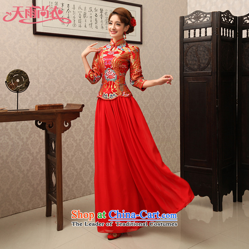 Rain was married yi wedding dresses cheongsam dress retro improved red 7 cuff toasting champagne bridal services during the Spring and Autumn Chinese qipao QP463 long red?XL