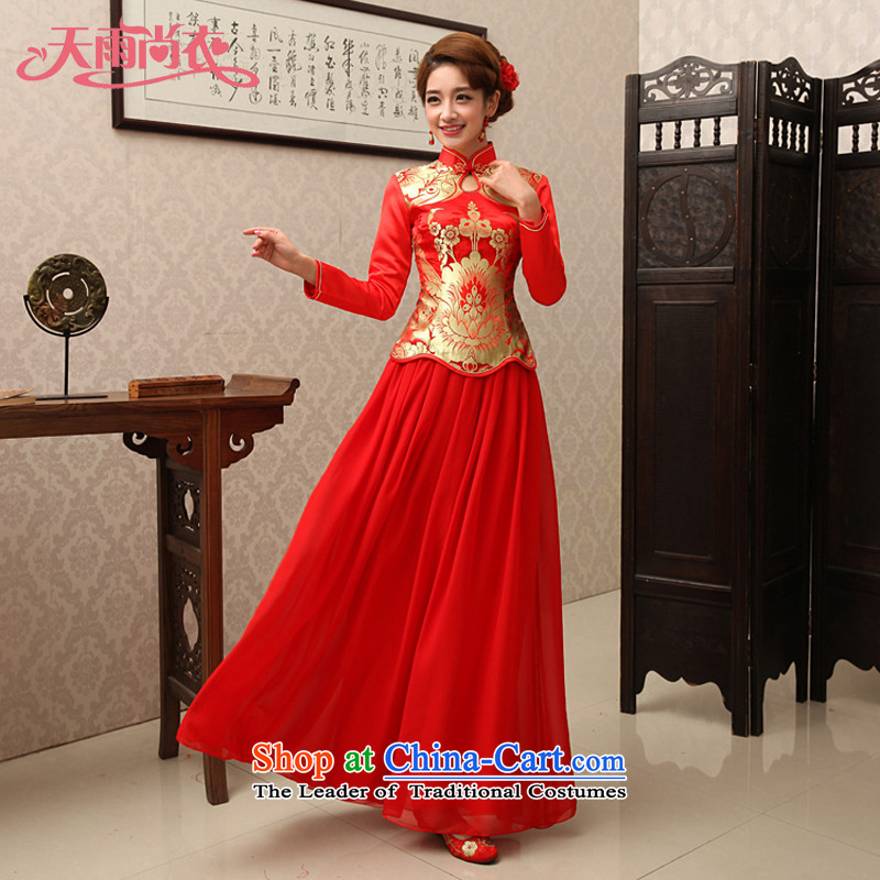 Rain-sang yi new bride wedding dress long skirt bows service long-sleeved red kit marriage chiffon qipao QP461 kit red?XL
