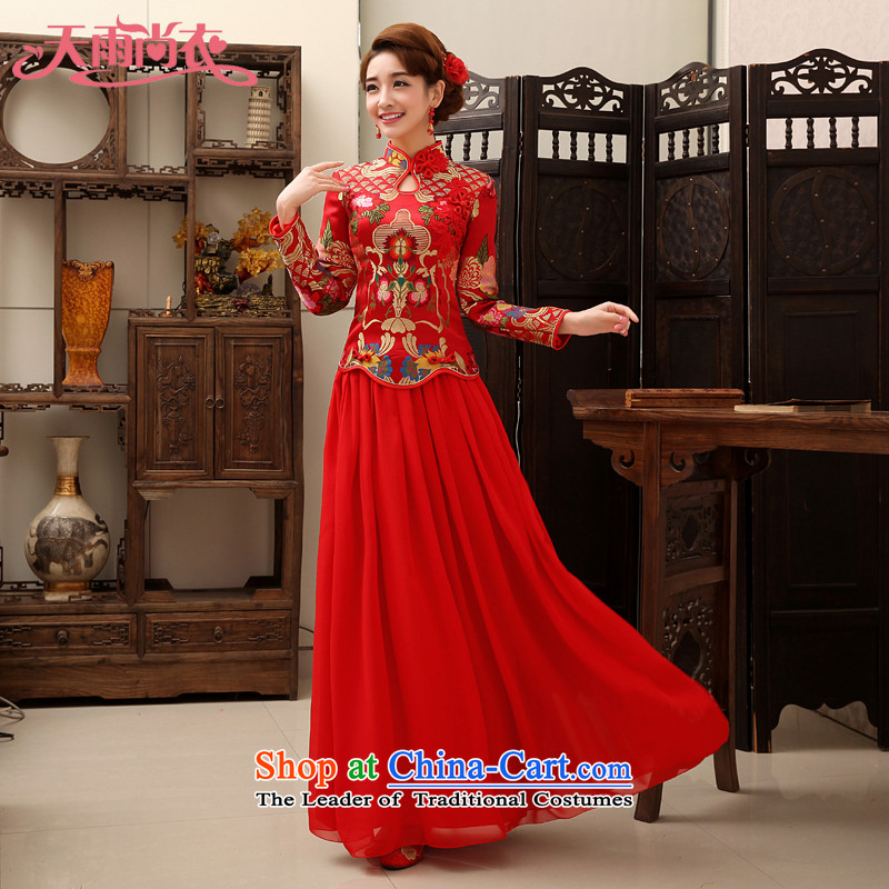 Rain in spring and autumn Yi Sang-bride wedding wedding dress 2015 new autumn and winter clothing back door skirts bows red chiffon kit QP458 qipao red?XL