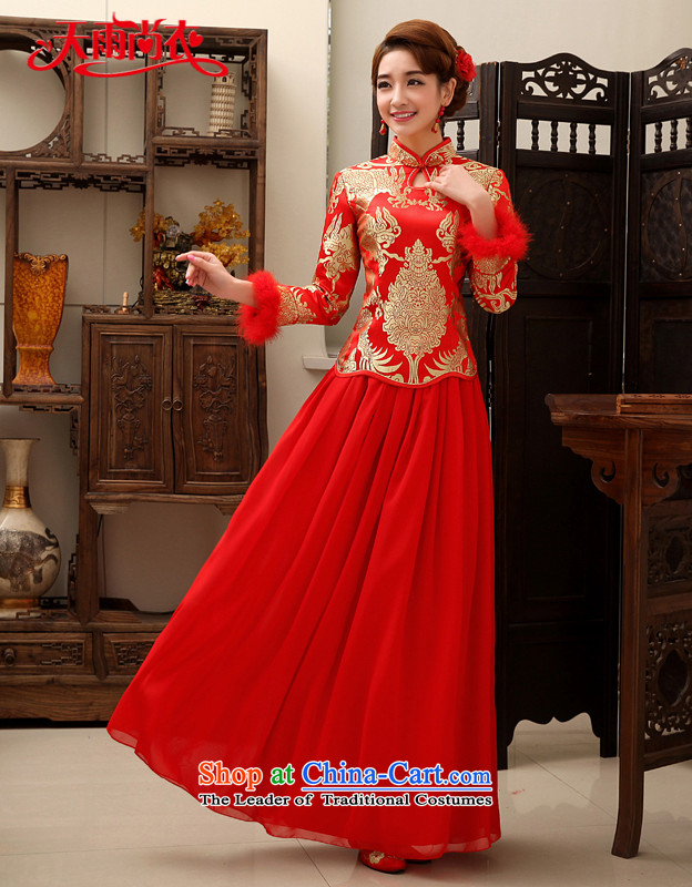 Rain-sang yi bride wedding dress wedding autumn and winter wedding services improved bows back to door long long-sleeved red QP457 QIPAO L
